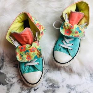 CONVERSE layered teal floral chuck sneakers RARE
